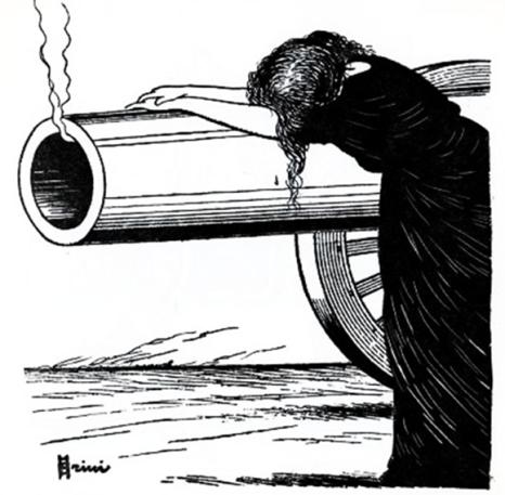 Donna sul cannone