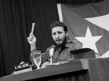 """Original Caption: Fidel Castro said in a telecast on May 27th, that U. S. action in halting technical aid was """"reprisal"""" for U. S. """"annoyance"""" over Cuba's giving a million dollars worth of disaster aid to Chile.  He termed the U. S. technical aid """"insignificant."""""""